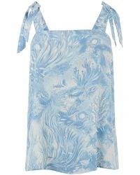 Warehouse Shrimps Sea Tie Cami Top - Blue