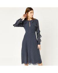 Warehouse - Textured Spot Dress - Lyst