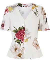 Warehouse Flora Floral Peplum Blouse - Multicolour