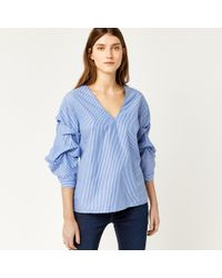 Warehouse - Stripe Tuck Sleeve Top - Lyst
