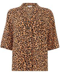 Warehouse Leopard Pyjama Top - Brown