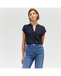 Warehouse - Pintuck Short Sleeve Blouse - Lyst
