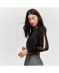Warehouse - Chiffon Split Sleeve Top - Lyst