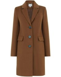 Warehouse Single Breasted Coat - Brown