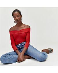 Warehouse - Long Sleeve Rib Bardot Top - Lyst