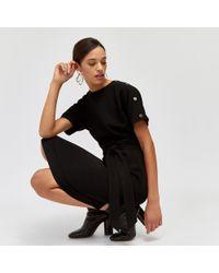 Warehouse - Button Midi WIGGLE Dress - Lyst