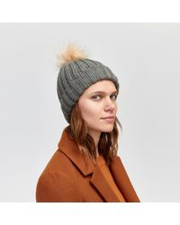 Warehouse Cable Knit Pom Pom Beanie Hat in Natural - Lyst 7bd1e9f728f4