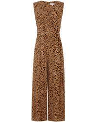 Warehouse Animal Print Culotte Jumpsuit - Brown