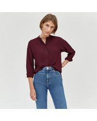 Warehouse - Long Satin Tipped Blouse - Lyst
