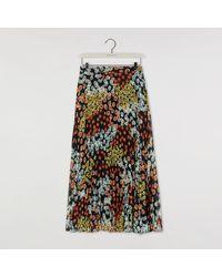 Warehouse - Mixed Daisy Pleated Midi Skirt - Lyst