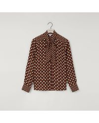 Warehouse Geo Print Pussy Bow Blouse - Brown
