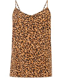 Warehouse Leopard Pyjama Cami Top - Brown