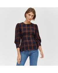 Warehouse - Check Puff Sleeve Top - Lyst