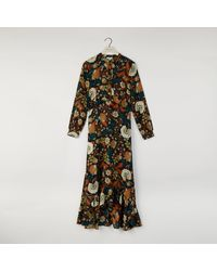 Warehouse Vine Floral Tiered Maxi Dress - Black