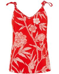 Warehouse Red Floral Cami Top