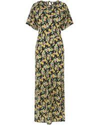 Warehouse Floral Cowl Split Maxi Dress - Green