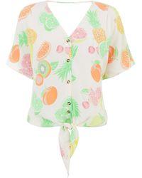 Warehouse Fruit Salad Tie Front Top - Multicolour