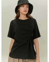 among Shirring Half Sleeve T-shirt Black