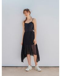 OUAHSOMMET Stripe Pleated Skirt Black