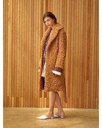 Clue de Clare Belted Faux Fur Coat - Brown