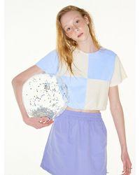 FUNFROMFUN Terry Checkerboard Banding T-shirts - Blue