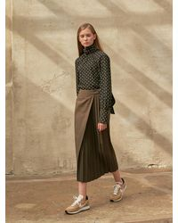 COLLABOTORY Pleats Point Cotton Skirt - Natural