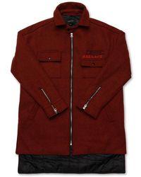 MADMARS [unisex] Oversize Lettering Wool Jacket - Red