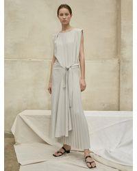 AEER Asymmetric Pleats Dress Light Grey
