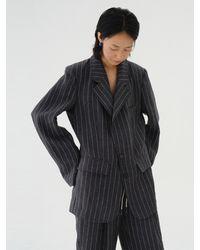AEER Striped Linen Jacket Charcoal Grey
