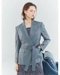 Clue de Clare Back Slit Jacket - Grey