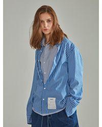 NOHANT Double Layer Label Shirt Stripe Blue