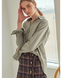 YAN13 Stud Flare Shirts Light Khaki - Natural