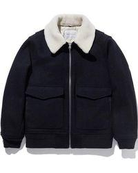 LIFUL MINIMAL GARMENTS - Mouton Collar Bomber Jacket Navy - Lyst