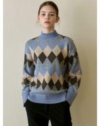 YAN13 - Argyle Mock Neck Sweater - Lyst