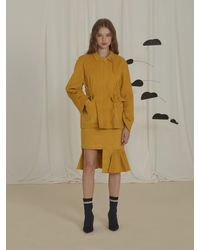 EJnolee Corduroy Asymmetry Skirt - Yellow