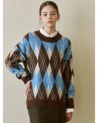 YAN13 - Fluffy Argyle Sweater - Lyst
