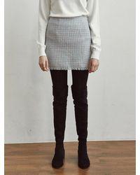 YAN13 Tweed A Mini Skirt - Blue