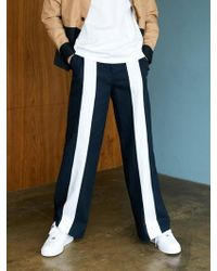BONNIE&BLANCHE - Big Stripe Wide Trousers Navy - Lyst