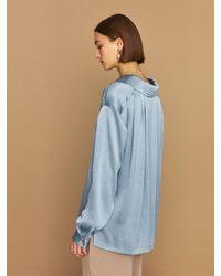 HIDDEN FOREST MARKET Zuly Silky Long Sleeve Blouse - Blue