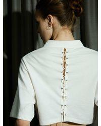 ULKIN Back String Cropped Pique Shirt - White