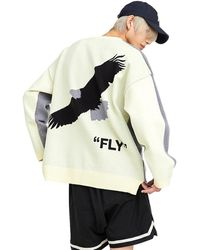 Heich Blade Front Hope Back Fly Oversized Fit Pullover - Gray