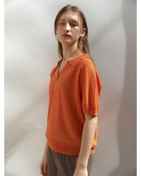 38comeoncommon Open Collar Linen Knit (ct) - Orange
