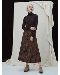 MILLOGREM Leopard Pleat Skirt Dark Brown