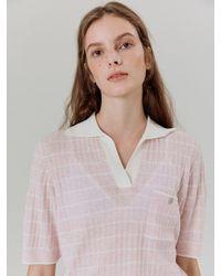 a.t.corner Stripe Collar Short Knit Pink (aesw1e004p2)