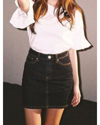Blanc & Eclare Denim Tees-teavora Denim Skirt-ss1642dk - Multicolour