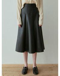 YAN13 Flare Leather Long Skirt - Black