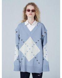 WAIKEI - [unisex] Detachable Sleeve Big Argyle Knit - Lyst