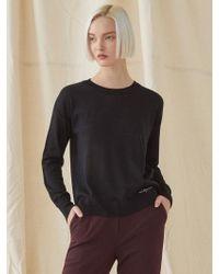 MILLOGREM - Simple Round Neck Knitwear - Black - Lyst