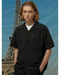 WAIKEI Stitched Nylon Short Sleeve Shirt - Black
