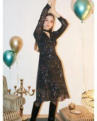 Salon de Yohn Chiffon Shirring Midi Dress - Black